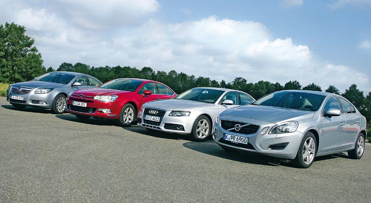 тест Audi A4 Citroen C5 Volvo S60 и Opel Insignia новые